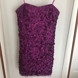 Adrianna Papell purple strapless party dress
